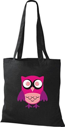 ShirtInStyle Jute Stoffbeutel Bunte Eule niedliche Tragetasche mit Punkte Karos streifen Owl Retro diverse Farbe, weiss schwarz