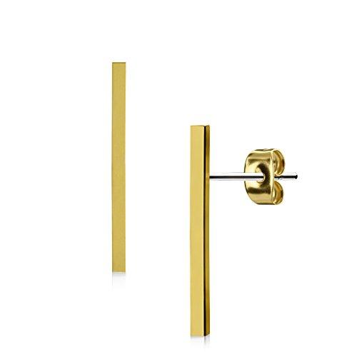 KULTPIERCING - Ohrringe Stab Lang Glattes Finish 1 Paar Ohrstecker 316 L Chirurgenstahl/Edelstahl Damen Schmuck Ohr-Schmuck Studs - Gold