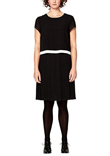 TRIANGLE Damen Crêpe-Kleid mit Plissée-Rock black 50 (Crêpe-kleid)
