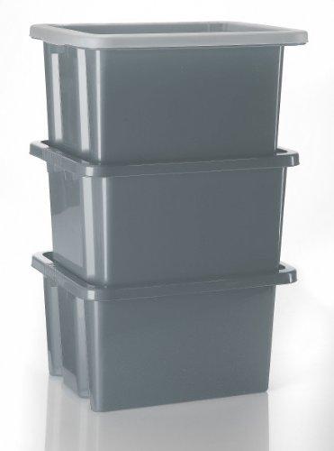 3 graue Stapelboxen mit 3 Deckeln - Made in Germany