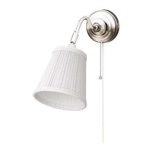 IKEA Wandleuchte Arstid nernickelt weiß Schirm 16 cm D Lampe Wandlampe -