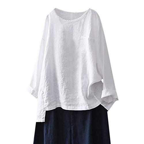 Lazzboy Frauen Casual Plus Size Baumwolle Leinen Lose Volle Hülse Solide T-Shirt Bluse Top Damen Frühling Sommer Tunika Oberseiten(Weiß,L)