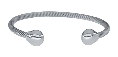 Magnetschmuck, SABONA OF LONDON Unisex Magnetarmreif aus 3 gedrehten Edelstahlschnüren, mit zwei polierten Edelstahl Abschlusskugeln, zwei Samarium-Cobalt (SmCo) Magneten à 1200 Gauß, S/M