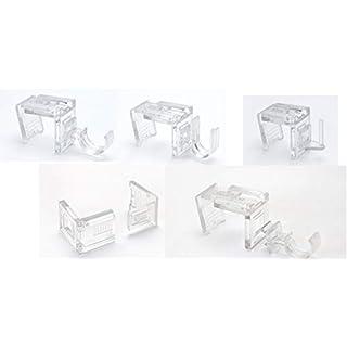 metablo Fensterhaken, Dekohaken,Vitragehaken transparent - 10er oder 20er-Set, B 17 x 22 mm - Für Fenster bis maximal 23mm Falzmaß geeignet Transparent 10-23 mm 10 Stück