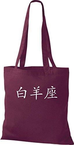 ShirtInStyle Stoffbeutel Chinesische Schriftzeichen Widder Baumwolltasche Beutel, diverse Farbe burgundy