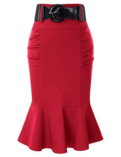 Belle Poque Jupe Moulante Femme Mi Longue Rouge Ourlet de Sirène XXL BP627-3