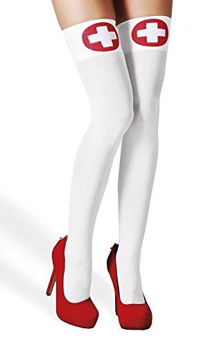 Halterlose Strümpfe zum Krankenschwester Kostüm - Weiß Rot