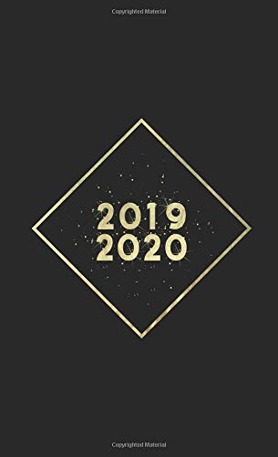 """2019-2020: Two Year Monthly Pocket Planner   Mini 4 x 6.5""""   Black + Gold Glitter por Pretty Planners"""