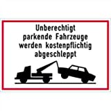 Schild Unberechtigt parkende Fahrzeuge 30 x 40cm Alu