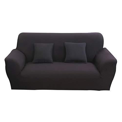 Hotniu Funda Elástica de Sofá Funda de Color Liso para sofá Antideslizante Protector Cubierta de Moda (Tres Plazas, Negro)