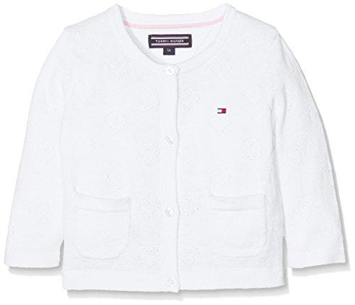 Girls Pointelle (Tommy Hilfiger Mädchen Pointelle Baby Girl Cardigan L/S Strickjacke, Weiß (Classic White 100), 62)