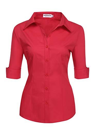BeautyUU Damen Bluse Slim Fit Damenhemd Damenbluse Hemd Rot L
