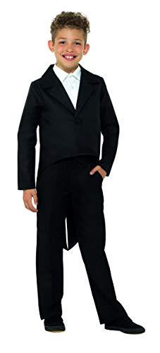 Kostüm Halloween Grease Zu - Luxuspiraten - Kinder Jungen Mädchen eleganter Frack Tailcoat Jacket Kostüm, perfekt für Karneval, Fasching und Fastnacht, 104-116, Schwarz