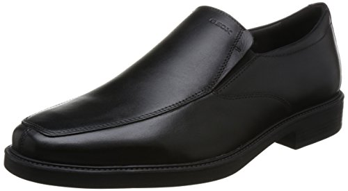 Geox scarpe in vera pelle slipper low shoes nero, taille:43