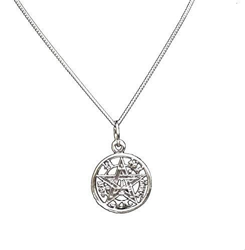 perlascarel Colgante Tetragramaton Plata de Ley 925 1,5 CM. con Cadena Modelo Barbada Plata de Ley a 45 cm. Estuche Incluido