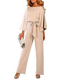 Itsmode Damen Jumpsuit Overall Einteiler elegant Hosenanzug Playsuit Breites Bein Romper mit Gürtel