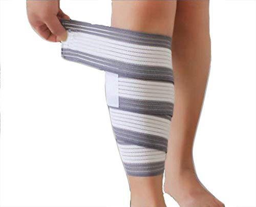 Elastic Wrap-around Calf Splint Support Tape Bandage Sports Elastic Bandage Wrapped Support Compression Bandage Brace - for Ankle Knee Elbow Calf Wrist Muscles (White&Grey/1 Pc)