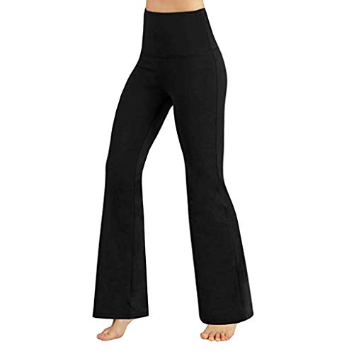 WOZOW Clearance Damen Hosen Yoga Solid Basic Bootcut Stretch High Waist Sports Slim Fitnesss Casual Flare Trousers (M,Schwarz) Stretch Flare-hose