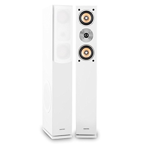 """auna Linie 501 FS-WH • 3-Wege Passive Standlautsprecher Standboxen • HiFi Lautsprecher Boxen • 140 Watt RMS • 8\"""" Tieftöner • 2x4 Mitteltöner • 1\"""" Hochtöner • weiß"""