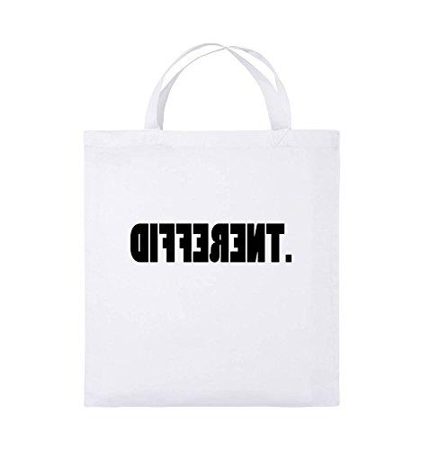 Comedy Bags - DIFFERENT - gespiegelt - Jutebeutel - kurze Henkel - 38x42cm - Farbe: Schwarz / Pink Weiss / Schwarz