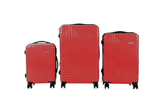 3 TLG TSA Kofferset IMEX Koffer Trolley HARTSCHALE POLYCARBONAT ABS GESCHÜTZES Design Model 3600 ROT