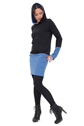 Hoodiekleid Winterzauber der Marke 3Elfen fair hergestellt in Berlin blau baumwolle