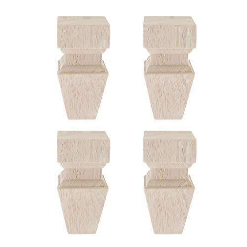 4pcs Möbelfüße Schrankfüße Sofafüße Massivholz Sofa Bein Unvollendete Füße für Sofa Couch Stuhl, Höhe 10cm - Typ K