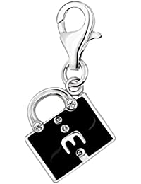 Quiges Charm Colgante de Plata de Ley 925 Bolsa con Esmalte Negro y Cierre Pinza de Langosta