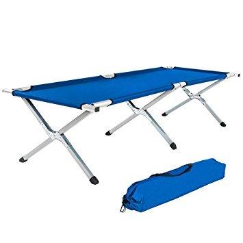 XXL - Gästebett, Campingbett, Feldbett, TÜV -zertifiziert, 210 x 72 x 45 cm, bis 200kg, blau