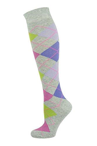 Mysocks® Kinder Knie hoch Socken Limette Orchidee Fuchsie lila Auf Asche (Mädchen Knie Hoch Socken)