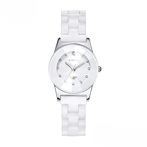 GQ-WATCH Weiße Keramikuhr Damenuhr Aus Quarz Wasserdicht, Komfortabel Und Langlebig Paar Beobachten Für Geschenke,White~Female