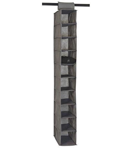 House Box RANGSU008 Rangement Suspendu à Chaussures avec 10 Compartiments Synthétique Gris 120 x 30 x 15 cm