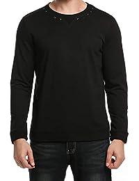 95c3440e5d8b Herren Sweatshirt Nieten Rundhals Aus Baumwolle Pullover Langarmshirt  Herbst Fashion Lässige Classic Basic T-Shirt
