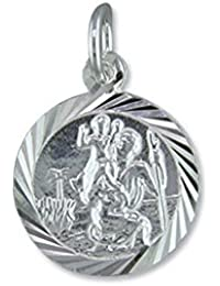 Mens Sterling Silver Round Diamond Cut St Christopher Pendant On A Black Leather Cord Necklace