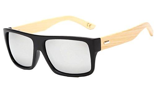 (Plata) Gafas de sol - Hombre - Mujer - Unisex - Espejo - Efecto de madera - Espejo