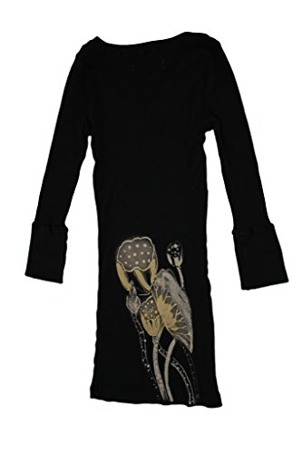 Ku Damen Sporttop, Sport Shirt, Yoga-Top mit 3/4-Ärmel, V-Ausschnitt, Slim-Fit, Lotus-Print von Chakura Meditation Kimono USA, Schwarz, Large Westliche Sommer-shirts