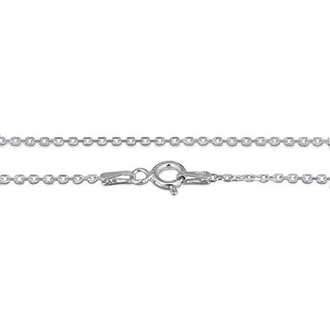 Amberta® Joyería - Collar - Fina Plata De Ley 925 - Cadena de Belcher - 1.3 mm - 36 40 45 50 55 60 70