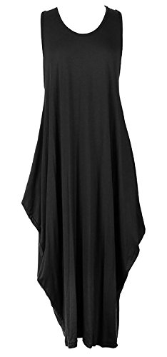 (Islander Fashions Damen Sleeveless Parachute Loose Romper Damen Fancy Lagenlook Long Baggy Dress Schwarz XX Large)