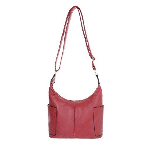 iTal-dEsiGn Damentasche Kleine Schultertasche Handtasche In Used Optik Kunstleder TA-S2508 Rot