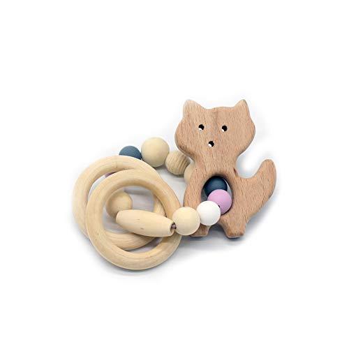 JER Langlebiges Silikon Holz Rasseln Baby Safe Ring Beißring Hand Entwicklung Educational Kinder Spielzeug Fuchsart Spielzeug