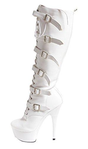Ruby-Fashion Sexy Plateau High Heels Lack Stiefel Weiß Kniehohe Gogo Boots Lackstiefel/Weiss/Größe 41 (Boot Stretch-plateau Overknee)