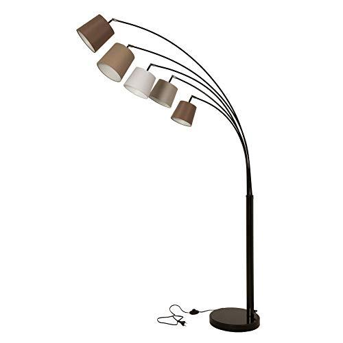 Design Bogenlampe LEVELS weiß beige braun mit 5 Leinen Schirmen Stehlampe Lampe