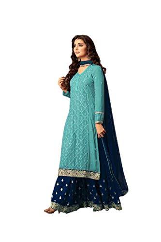 RUDRAPRAYAG Women's Georgette and Santoon Anarkali Suits (5407, Dark Blue, Free Size)