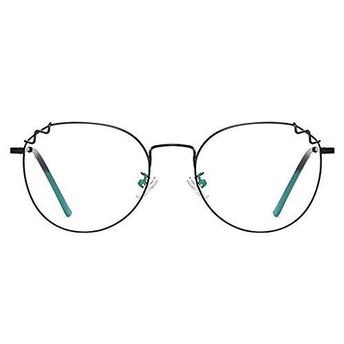 Glücklich zusammen Anti-Blu-ray Brille Weibliche Retro Persönlichkeit Runde Metall Vollformat Myopie Rahmen Farbwechsel + Strahlenschutzbrille