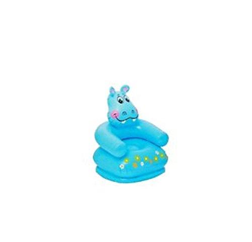 Aufblasbarer Kindersessel Sessel Stuhl Sessel ist bis max. 60 kg belastbar Maße: ca. 65 x 64 x 75 cm ideal fürs Kinderzimmer , Garten , Strand oder Urlaub verschiedene Tiere Bär , Nilpferd oder Frosch (Nilpferd blau)