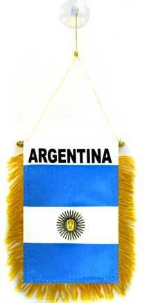 AZ FLAG Fanion Argentine 15x10cm - Mini Drapeau Argentin 10 x 15 cm spécial Voiture - Bannière