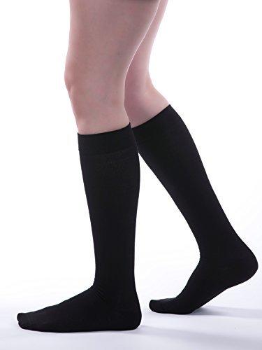 8bacf77003 Allegro Premium - Italian Cotton Compression Knee Highs 15-20mmHg (4, Black)