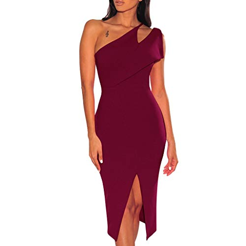 Damen One Shoulder Split Kleid Kleid Sexy Slim Trägerlos Einfarbig Kleid Mode Ärmellos Durchbrochene Cocktail Party Kleid Sonojie Service Rock N Roll Jeans