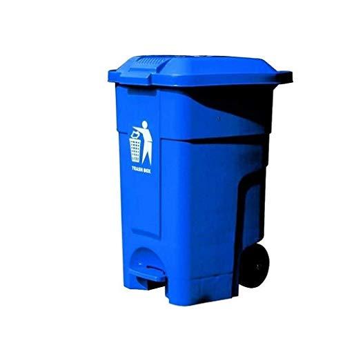 B-fengliu Kunststoff-Papierkorb, Papierkorb mit Wagen, Gewerbepark Fabrik Platz Geschäft Trash Can 46,5 * 43,4 * 62cm Komfortabler Dresser (Color : Blue, Size : 46.5 * 43.4 * 62CM)