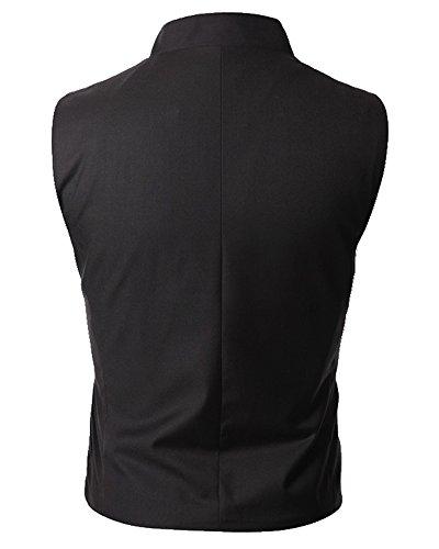 Cenizas-Casual-Black-waistcoat-for-men-slim-fit-party-wear-with-6-Button-Cross-Design